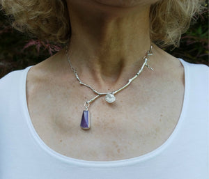 Purple Chalcedony-Sterling Silver Lichen Necklace