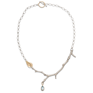 Sterling Silver,14k Gold- Stick & Leaf Necklace with Aquamarine Pendant