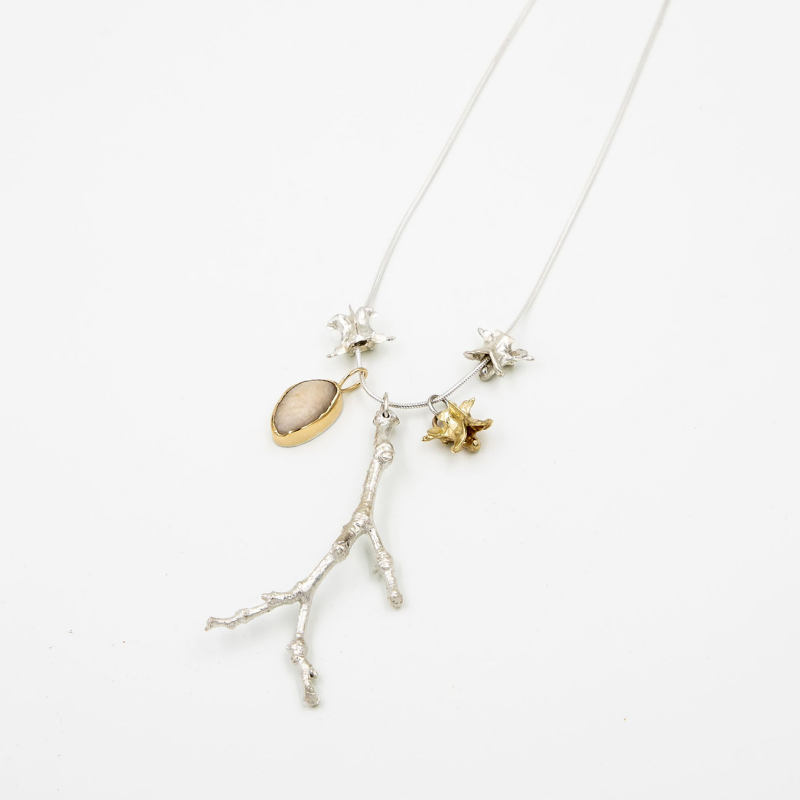 Add-a-Bone Necklace-14K Gold, Sterling Silver, Pebble