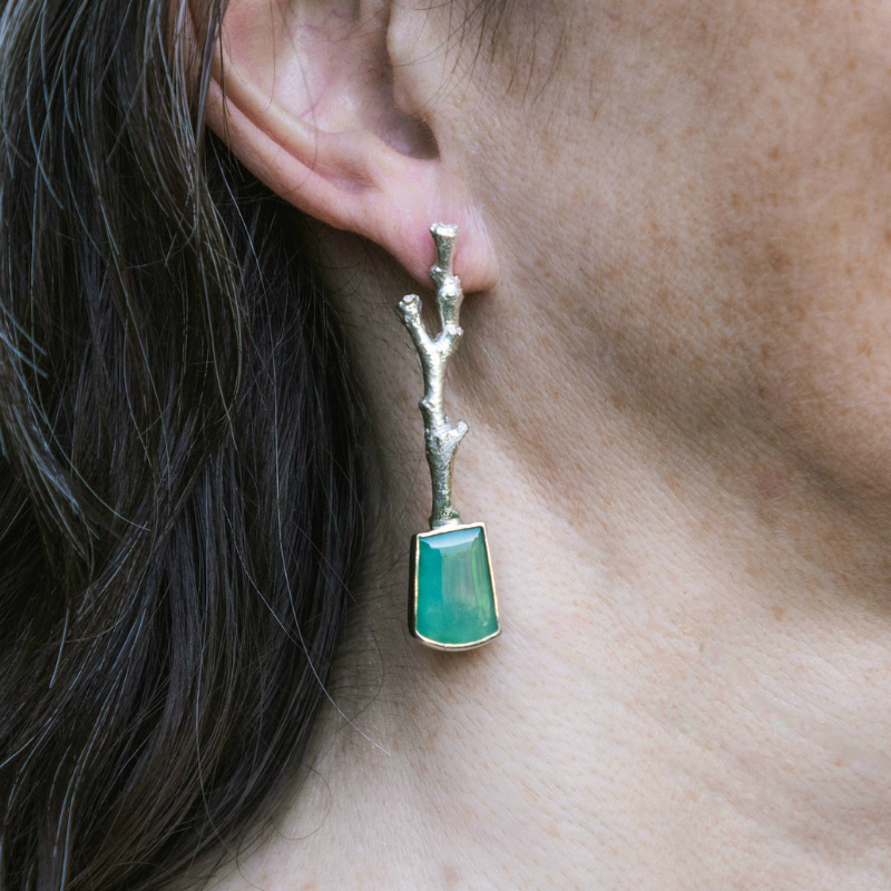 Gem Silica-Sterling Silver 'Stick' Earrings