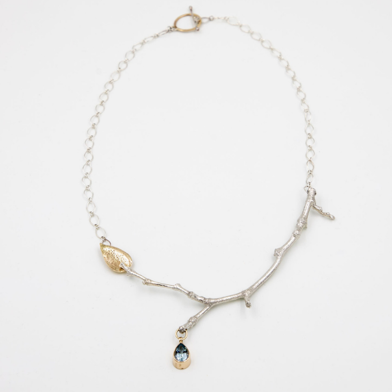 Sterling Silver-14k Gold Twig & Leaf Necklace with Aquamarine Pendant