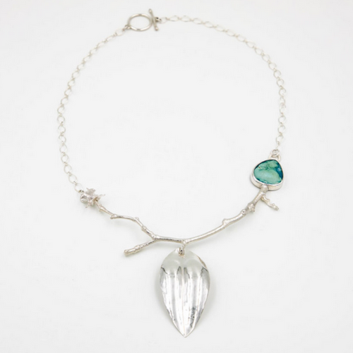 Turquoise-Sterling Silver Leaf, Bone Necklace