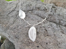 Sterling Silver Double Leaf, Stick Necklace