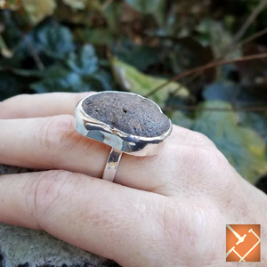 "Sterling Silver ""Pedestal Coal"" Ring"