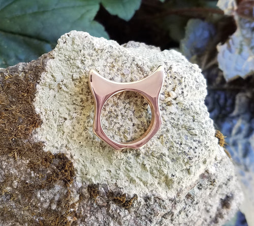 Handcrafted PussyHat Ring in 14K Rose Gold