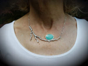 Turquoise-Sterling Silver Cradle Necklace