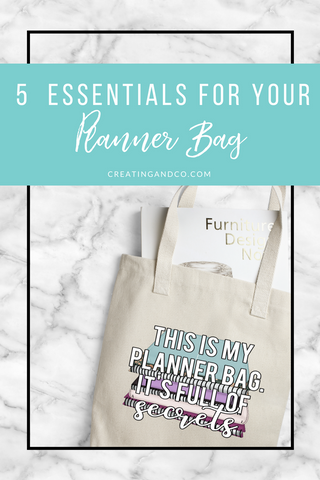 When I saw this bag from Creating & Co I knew I had to have it for traveling with all my planner supplies this summer and fall! Whether it's home to Michigan or just out to a coffee shop, I have a few planning essentials that I always take with me! #planneressentials #planningtips #plannerinspo