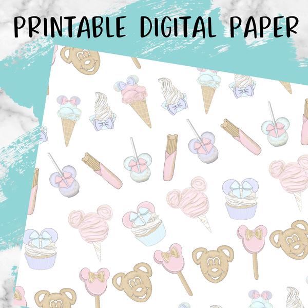 Mouse Snacks Printable Digital Paper