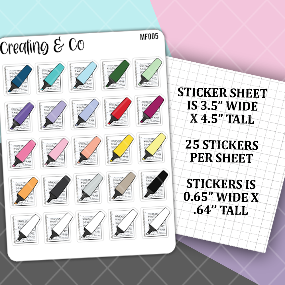Editing Highlighter, Note Taking Icon Stickers Functional Stickers  - MF005