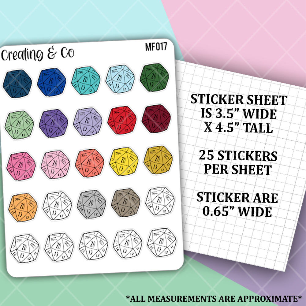 D20 Dice Functional Stickers  - MF017