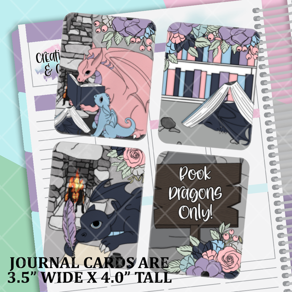 Book Dragons - Reading, Sleeping, Writing - Journal Card Pack - PS006