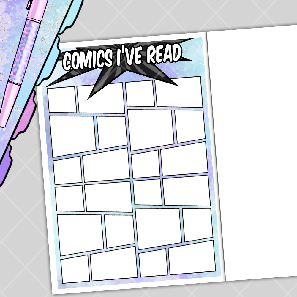 Comics Read Bullet Journal Layout Note Page Sticker Set