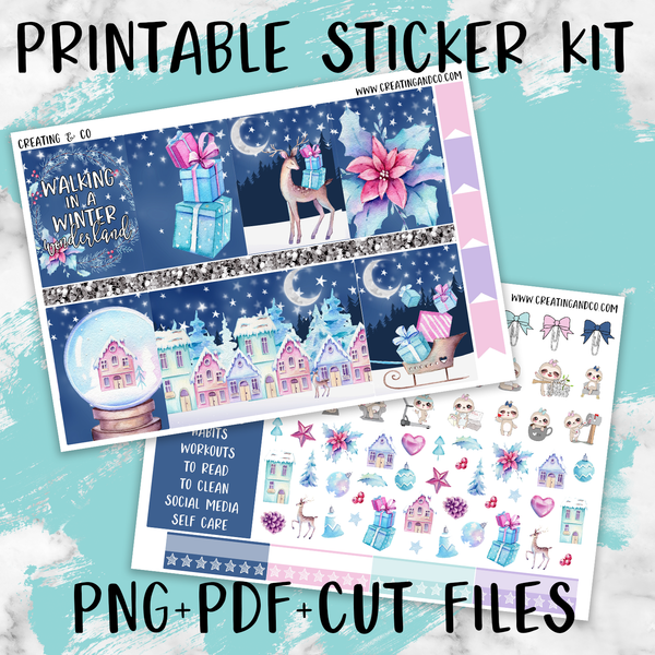 Christmas Wonderland Printable Weekly Planner Stickers - PK4
