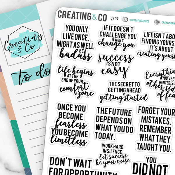 Inspirational Quote Planner Stickers - QS07