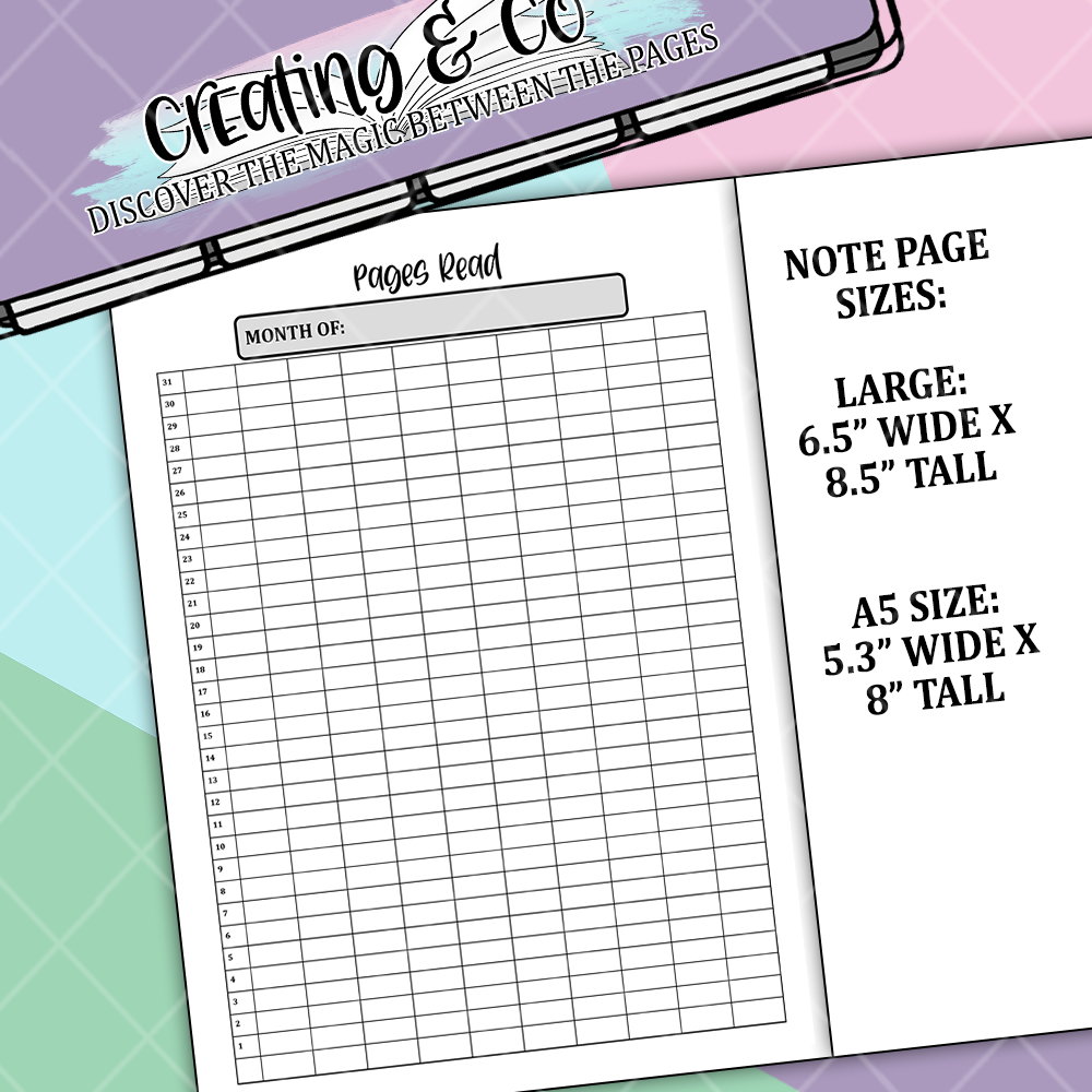 Pages Read Bullet Journal Note Page Sticker