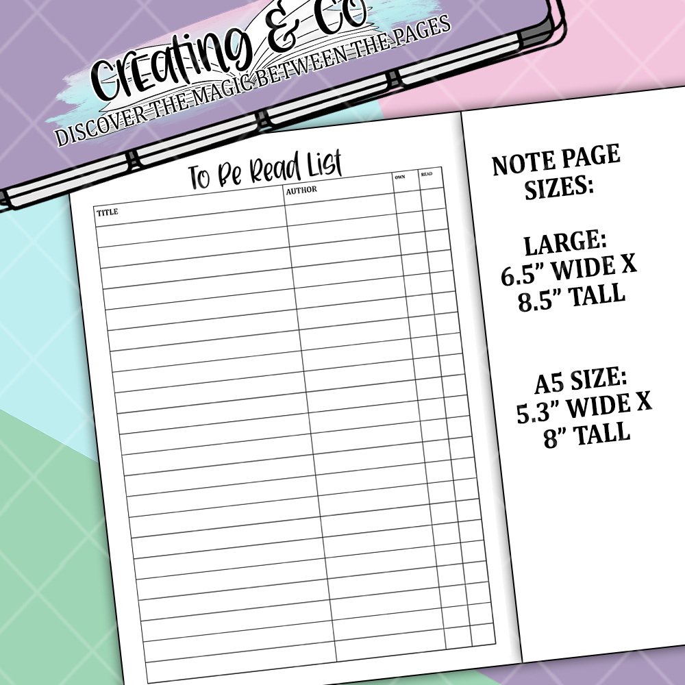 To Be Read List Bullet Journal Note Page Sticker