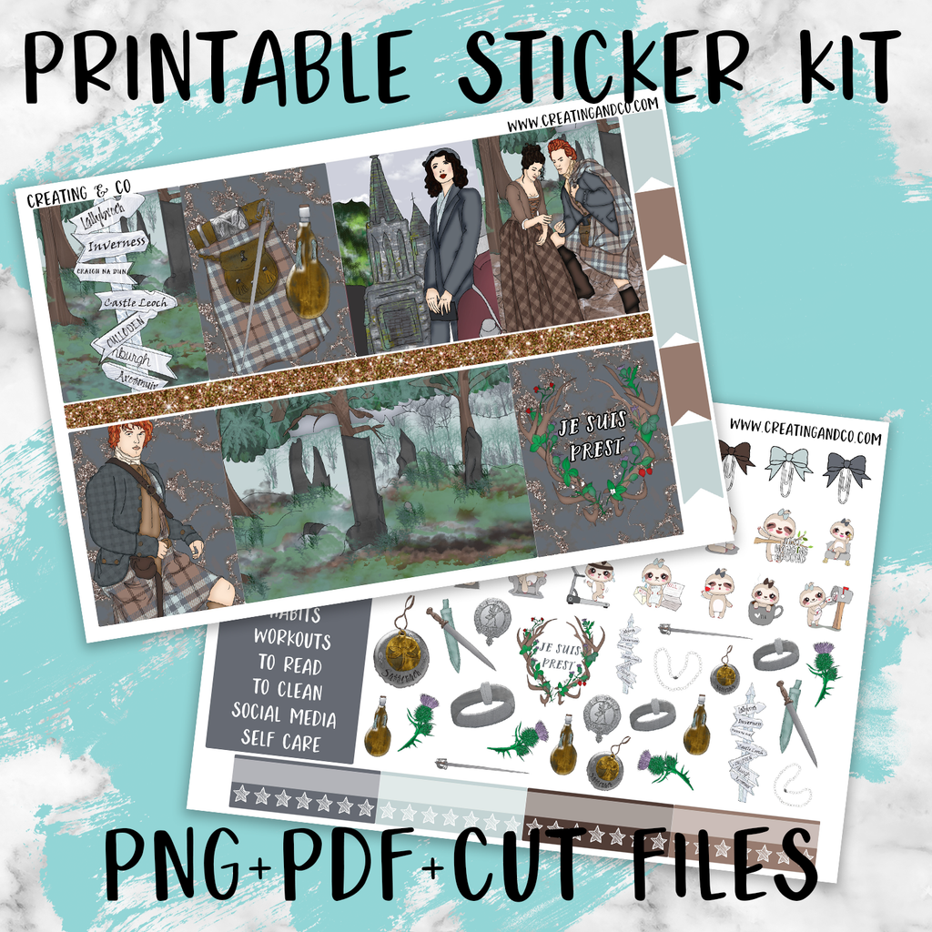 Sassenach Printable Weekly Planner Stickers - PK6
