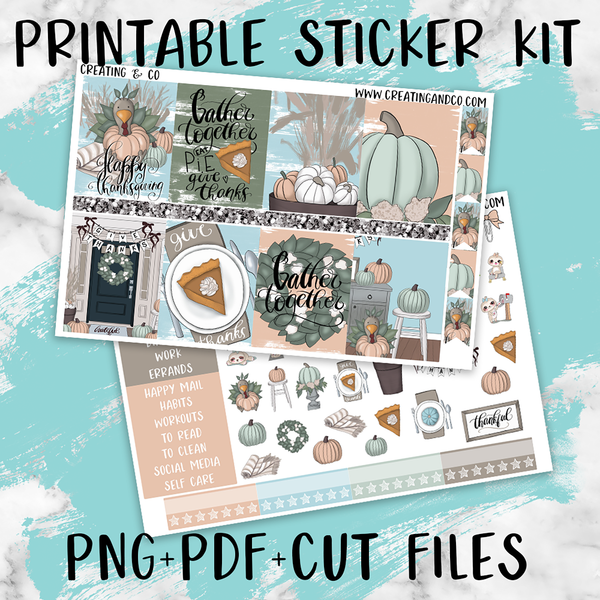 Gather Printable Weekly Planner Stickers - PK2