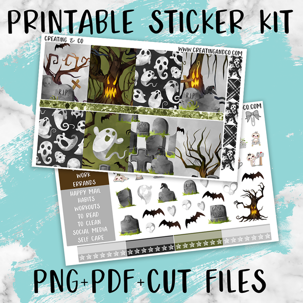 Scary Trees Printable Weekly Planner Stickers - PK4