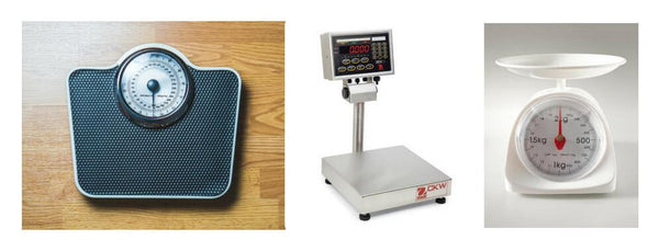 A home weighing scale, an Ohaus Checkweigher, and a kitchen scale.