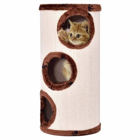 "28"" 3-Story Cat Tree Tower Tan/Gray/Brown"