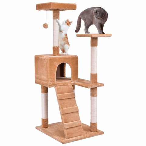 "52"" Cat Tree Play House Tower Condo with Toy Tan/Gray/Orange"