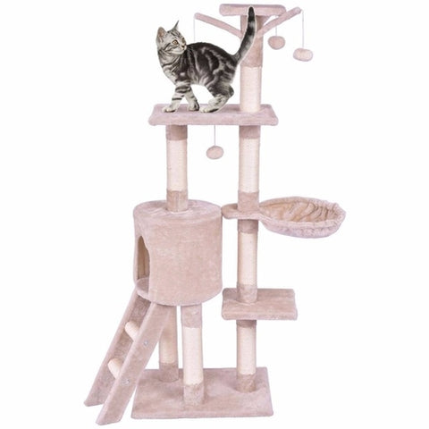 "56"" Cat Tree Play House Tower Condo with Toy Tan"