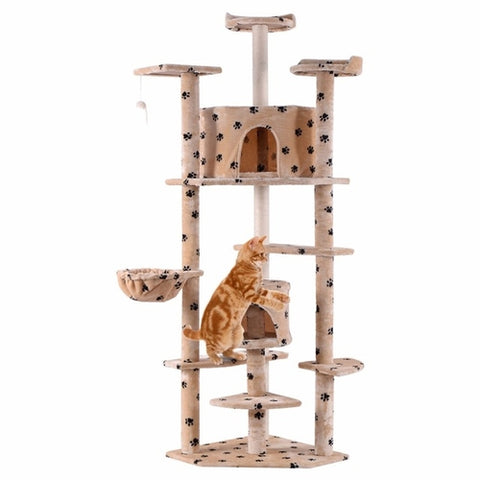 "80"" Cat Tree Dual Play House Tower Condo with Toy Tan Paws Printed"