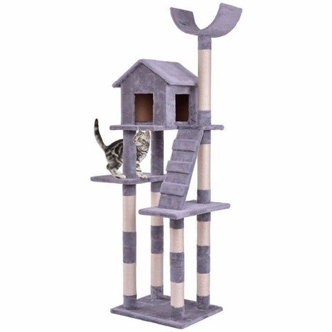 "68"" Cat Tree Tower Condo with Scratching Posts Tan/Gray"