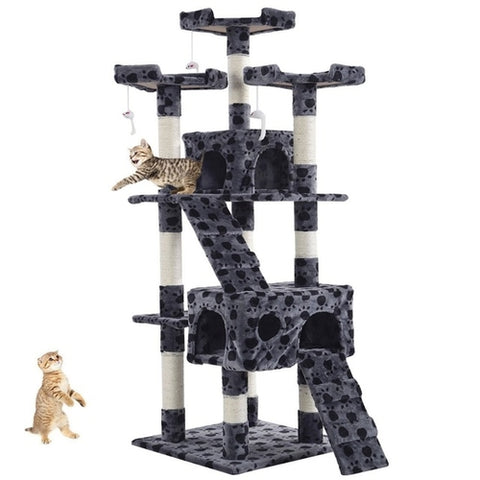 "67"" Cat Tree Dual Play House Tower Condo with Toy Tan/Gray"