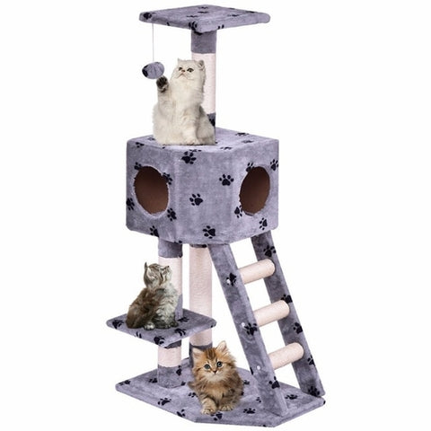 "40"" Cat Tree Play House Tower Condo with Toy Gray"