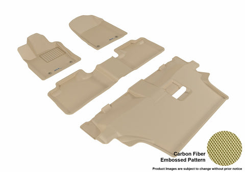 3D MAXpider L1DG02501502 DODGE DURANGO 2012-2019 KAGU TAN R1 R2 R3 7 SEATS (2 POSTS ON FRONT PASSENGER'S FLOOR)
