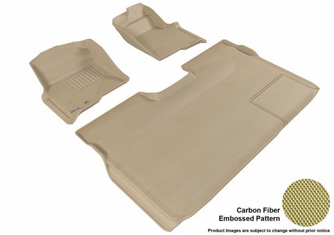 3D MAXpider L1FR06701502 FORD F-150 2009-2010 SUPERCREW KAGU TAN R1 R2 (1 EYELET, NOT FIT 4X4 M/T FLOOR SHIFTER, TRIM TO FIT SUBWOOFER)
