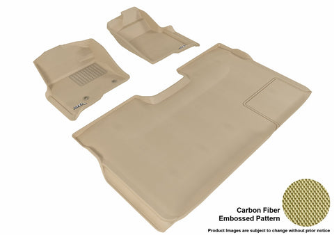 3D MAXpider L1FR07201502 FORD F-150 2010-2014 SUPERCREW KAGU TAN R1 R2 (2 POSTS, WITH HEATING DUCT, NOT FIT 4X4 M/T FLOOR SHIFTER, TRIM TO FIT SUBWOOFER)