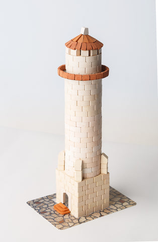 WISE ELK Mini bricks OLD TOWN construction set - Lighthouse, 500 pcs, White