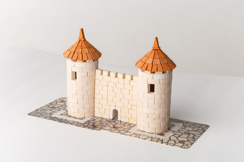 WISE ELK Mini bricks OLD TOWN construction set - Two Towers, 470 pcs, White