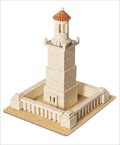 WISE ELK Mini bricks FAMOUS PLACES construction set - Lighthouse of Alexandria, 970 pcs, White