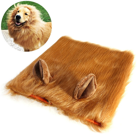 Pet Cosplay Light Brown Lion Headgear with Ears Costume