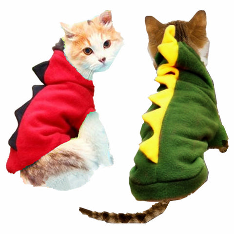 Cat Cosplay Dinosaur Costume Hoodie Coat Red/Dark Green XS/S/M/L/XL