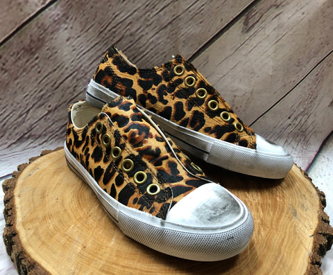 Distressed Leopard Sneakers