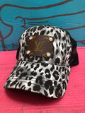 LV GREY LEOPARD HAT