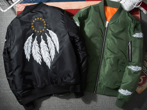 Black Feather Bomber Jacket
