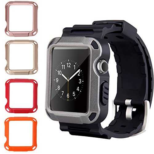 info for 54d34 50b91 42mm Apple Watch Case Band, Peyou Full Armor Rugged Protective Hard Cover  Case Grey [Built-in Screen Protector] [4 Colors Case for Free] with ...