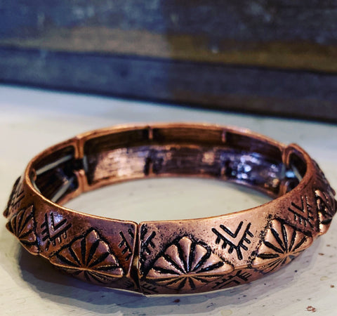 Copper Aztec Bangle Bracelet