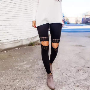 Open knee lace leggings
