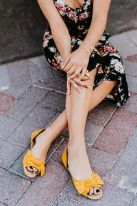 Yellow open toe sandal by Rollasole