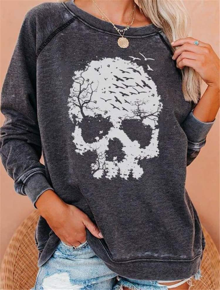 Skull acid wash top