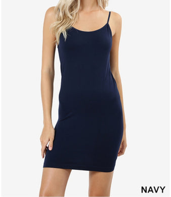 Navy seamless long cami