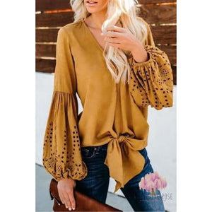Bell sleeve Knot top
