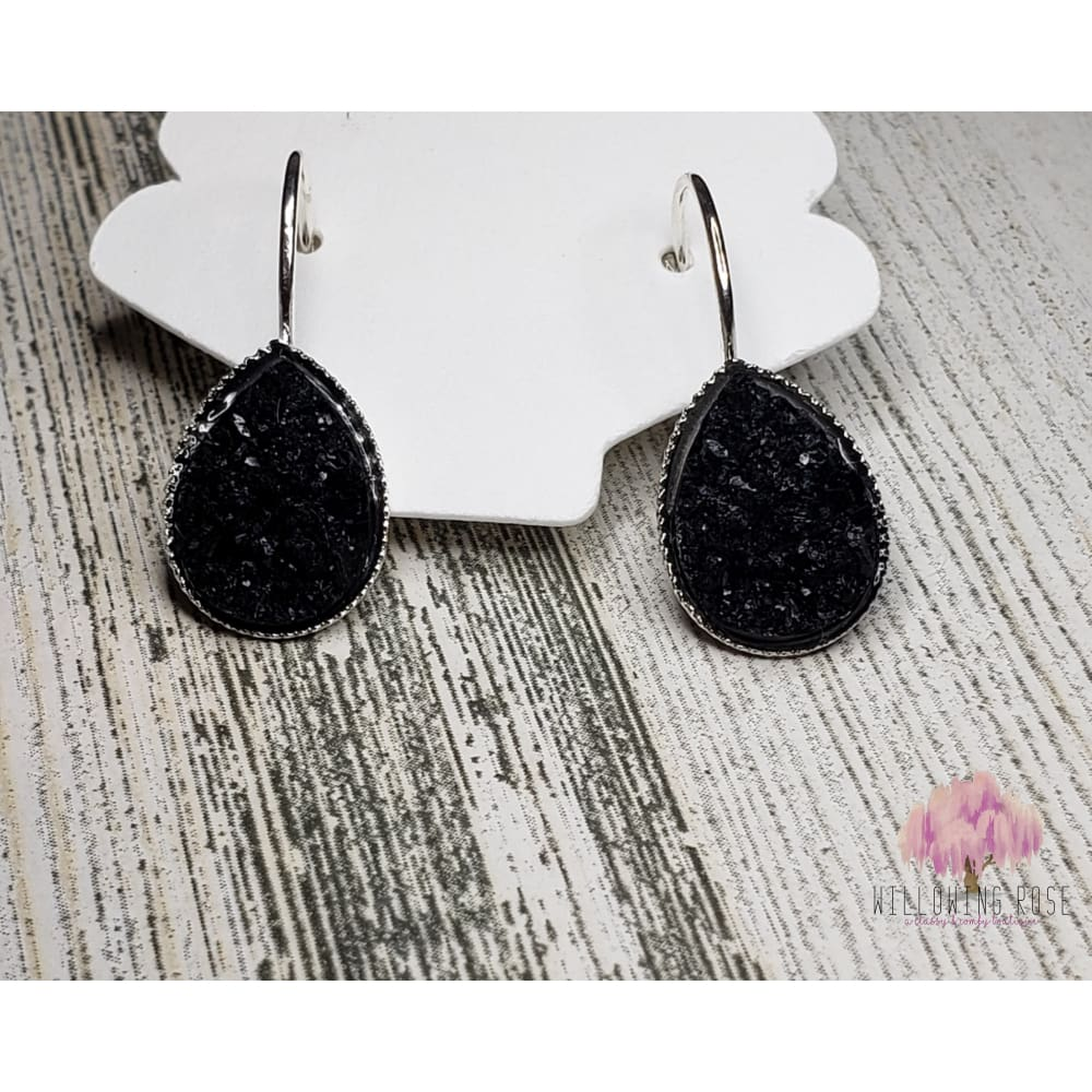 earrings,sassy-chic-clothing-boutique,Black druzy earrings,Willowing Rose Boutique! Formerly Sassy Chic Clothing Boutique